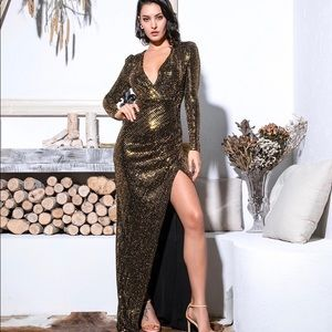Dresses & Skirts - Gold deep v neck sequin evening gown